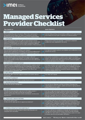 imei Managed Services Provider Checklist